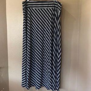 TALBOTS 2X Navy White Stripe Stretch Maxi Skirt